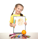 girl drawing orange on clipboard