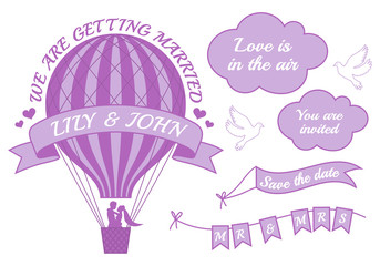 hot air balloon wedding invitation, vector