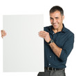 Happy Businessman Holding A Blank Sign