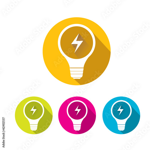vector flat Light bulb idea icon collection