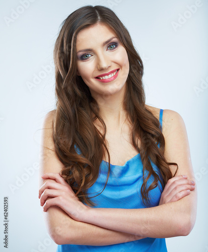 Young happy woman isolated portrait.