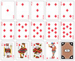 isolated Diamond suit playing cards. Original figures
