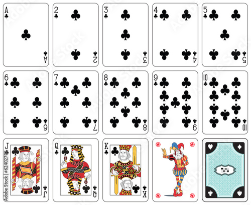 Isolated Club suit playing cards. Original figures