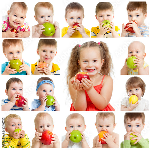 collection of babies and kids eating apples, isolated on white