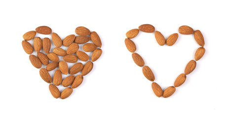 isolated almond hearts