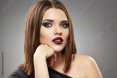 Woman model beauty face. Fashion posing.