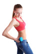 Young beautiful fitness girl exercising with dumbbells,
