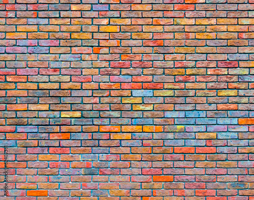 Foto op Canvas Wand Colorful brick wall texture
