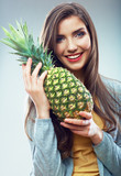 Woman fruit diet concept portrait with Green pineapple