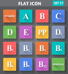 Vitamins Icons set in flat style with long shadows.