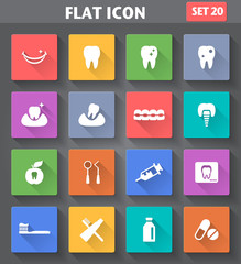 Dental Icons set in flat style with long shadows.