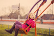happy girl on swing