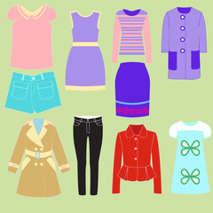 colorful set collection of clothes for girls