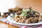 Boiled buckwheat with mushrooms