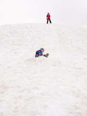 small children sledging on snow covered hill