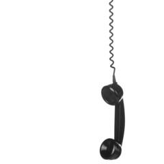 Old Vintage Black Telephone isolated on white