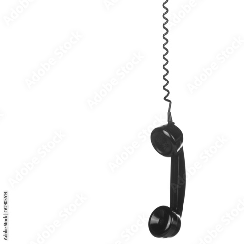 Old Vintage Black Telephone isolated on white