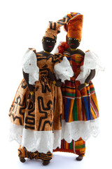 two African dolls wearing boubou