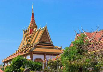 View of buddhist temple in the center of Siem Reap