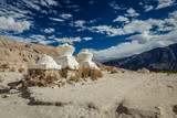Chortens (Tibetan Buddhism stupas) in Himalayas. Nubra valley, L