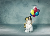 sad new wife with colorful balloon