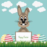 brown bunny behind board colorful eggs