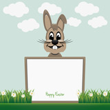 brown bunny behind board happy easter