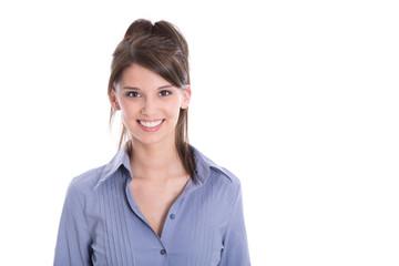 Gesicht einer schönen jungen lachenden Frau mit weißen Zähnen