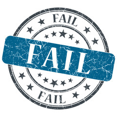 Fail blue grunge round stamp on white background