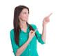Junge lachende Frau mit Zeigefinger isoliert