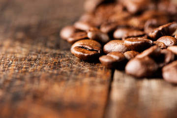 Coffee on grunge wooden background macro horizontal