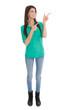 Schlanke lachende Frau zeigt mit den Zeigefingern auf etwas