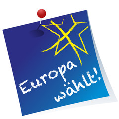 Post-it,Reminder,Stimmzettel Europawahl,frei,Vektor,Pin,