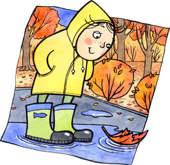 Cute child standing in a puddle