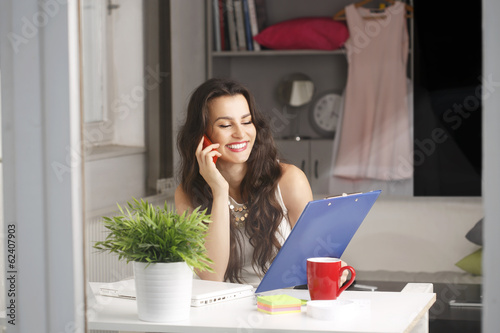 Beautiful businesswoman working at home