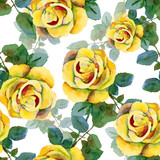 Floral pattern. Vector seamless background. Yellow roses