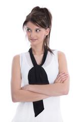 Hübsches Gesicht einer jungen isolierten Frau in Bluse