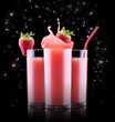 Smoothies of strawberry in glass with splash