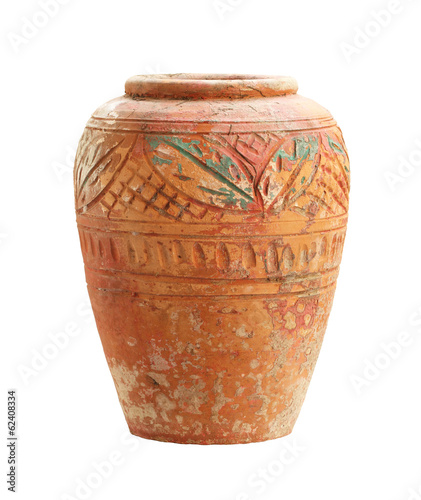 Vintage clay jar isolated on white background
