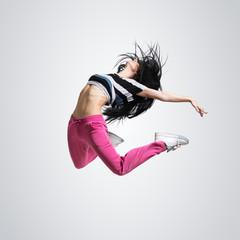 athletic girl dancing jumping