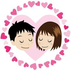 ラブラブなカップル(男の子と女の子)