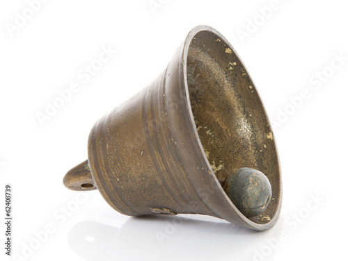 Old bronze bell isolated on white background