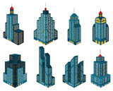 Skyscrapers in perspective (blue)