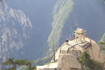 stone pagoda built on the stone cliff at mountain huashan