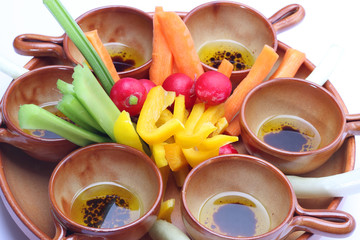 Raw vegetables for pinzimonio (vinaigrette)