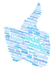 Social Media Thumb Up Word Cloud Concept Vector