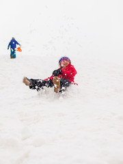 small children sledging