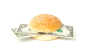 Dollar burger with bank notes
