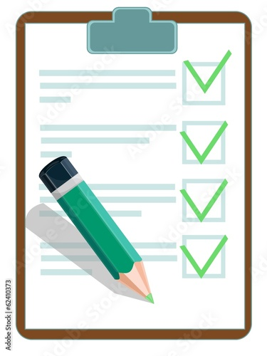 Vector illustration of a checklist with pencil