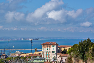 Great view sea and city of Ancona, Italy